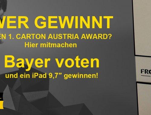 Bayer nimmt am CARTON AUSTRIA AWARD teil -> hier voten!